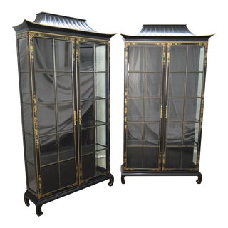 Hand Painted Black Pagoda Top Curio Display Cabinets - a Pair