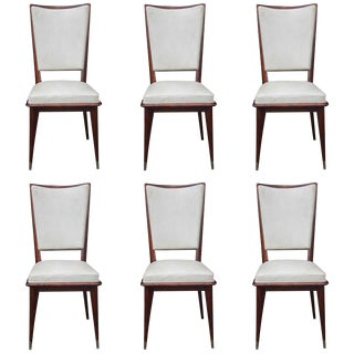 Set of 6 French Art Deco Solid Walnut Dining Chairs, circa 1940's