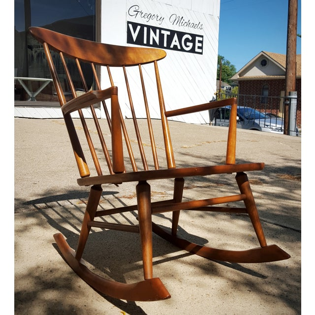 Mid-Century Modern Spindle Rocking Chair - Image 5 of 11