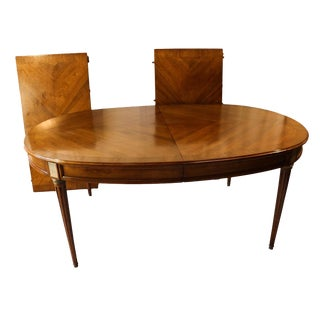French Directoire Style Oval Walnut Extending Dining Room Table