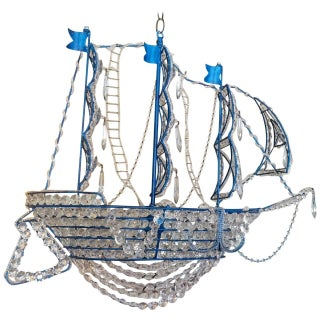 Nautical Glam Iron & Crystal Ship Chandelier