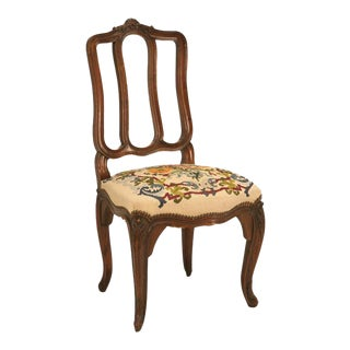 Italian Oak Needlepoint Dining Chairs - Set of 6
