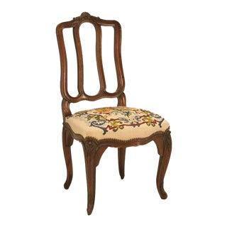 Italian Oak Needlepoint Dining Chairs - Set of 6