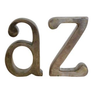 Brass Plated a & Z Bookends - A Pair