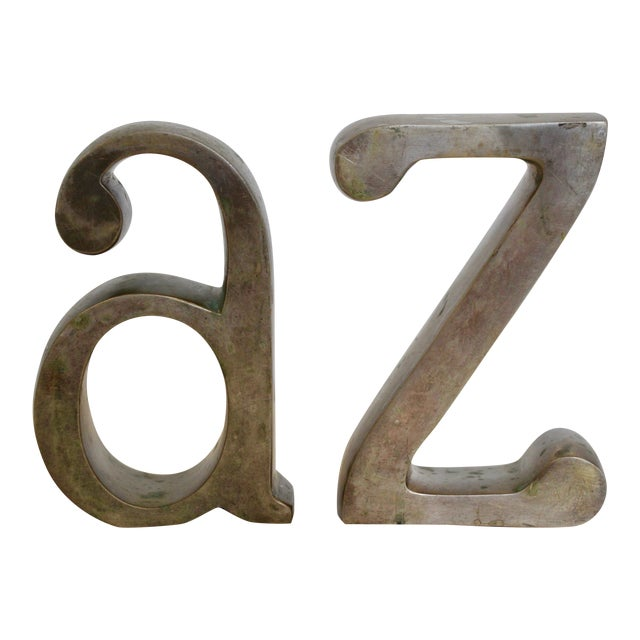 Image of Brass Plated a & Z Bookends - A Pair