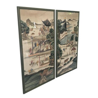 Monumental Asian Watercolor Prints of Village Life - A Pair