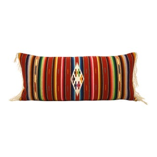 Red Mexican Serape Fringed Bolster Pillow