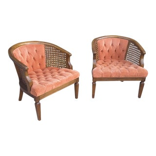 Pair of Mid Century Barrel Back Caned Chairs