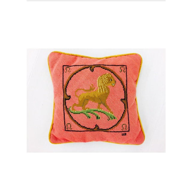 "Vintage Needlepoint ""Leo"" Lion Pillow - Image 7 of 7"