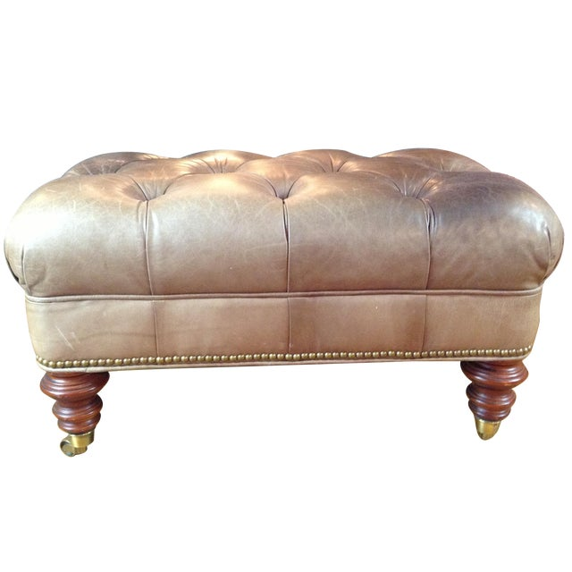 Image of Cognac Leather Tufted Ottoman