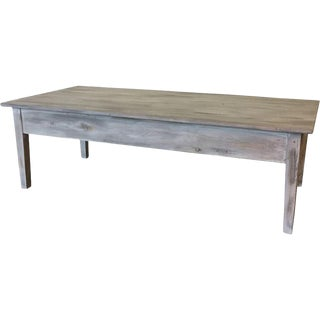 Swedish Antique White Painted Rustic Coffee Table