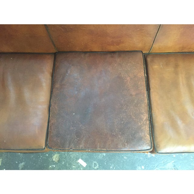 Vintage Leather Mustache Sofa - Image 6 of 9