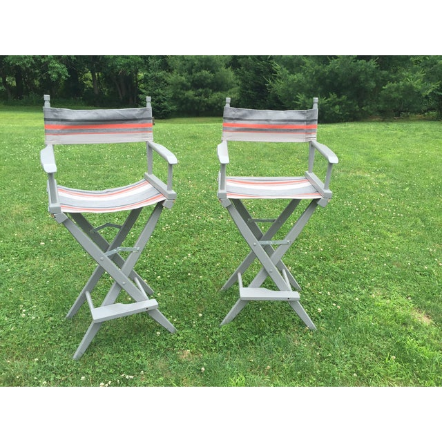 Image of Gray and Orange Striped Director's Chairs - A Pair