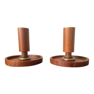Mid-Century Danish Wood & Brass Candle Holders - A Pair