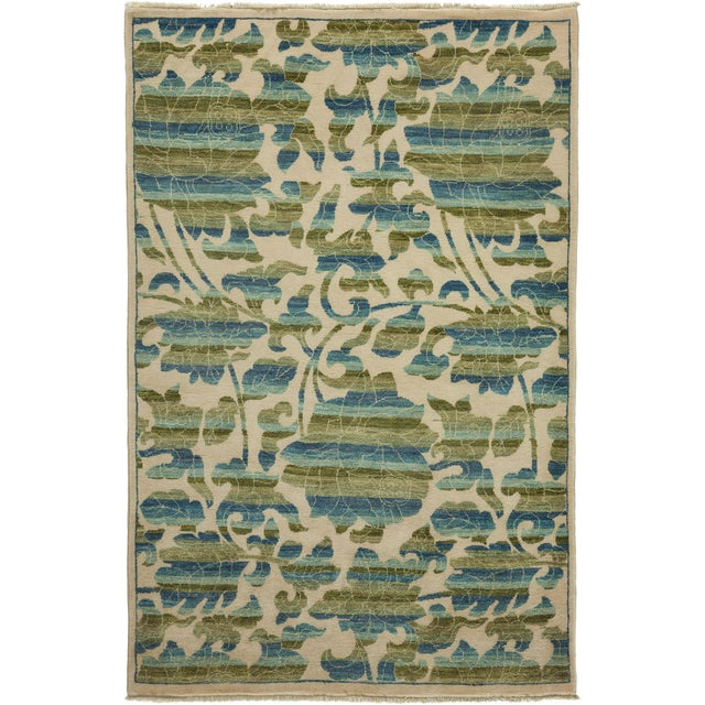 """New Arts & Crafts Hand Knotted Area Rug - 4'2"""" x 6'3"""" - Image 1 of 3"""
