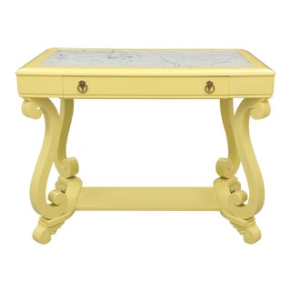 Neoclassical Style Banana Yellow Marble Top Hall Table