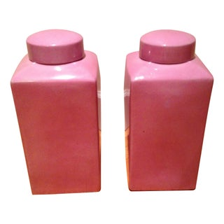 Pink Ceramic Crackle Ginger Jars - A Pair