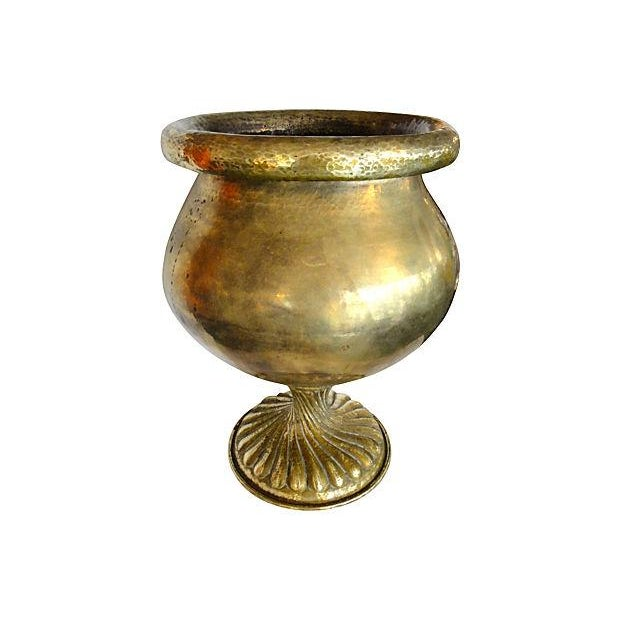 Image of Solid Brass Planter with Ornate Base