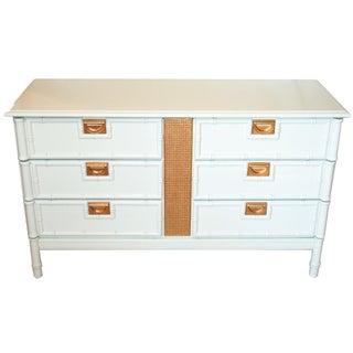 Vintage, White & Gilt Gold Faux-Bamboo Dresser