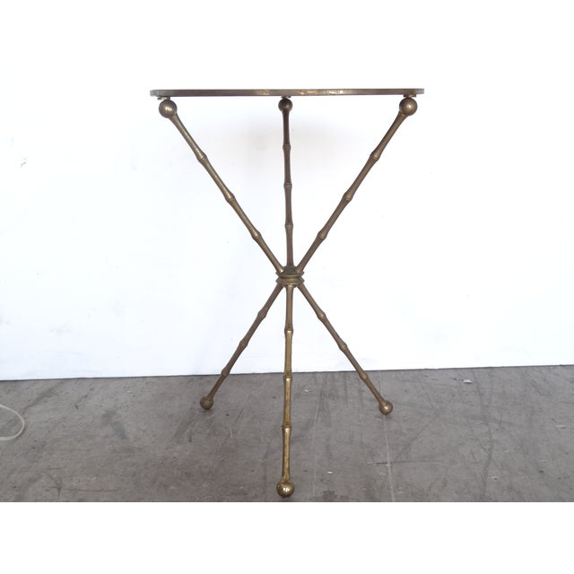 Image of Mid-Century Faux Bamboo Brass Side Table