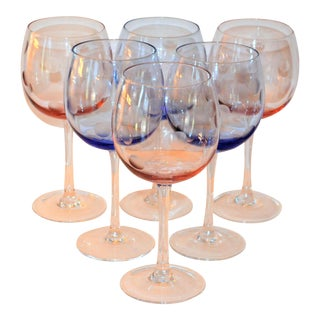 Waterford Pink and Blue Polka Dot Wine Glasses - Set of 6