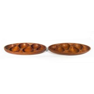 Mid Century Teak Wood Serving Trays - Set of 2