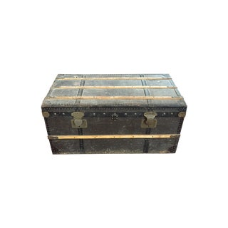 Vintage Black Leather Trunk