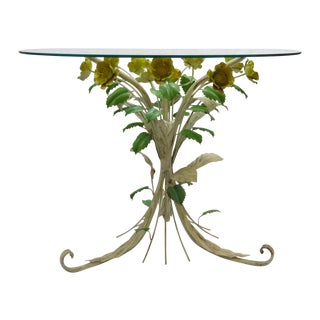 Italian Yellow Bouquet Tole Table