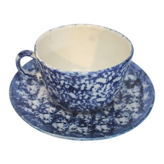 Large 19th Century Sponge Ware Mush Cup and Saucer