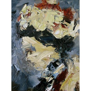 An Expressive American 1950s Abstract Expressionist Oil Painting of a Woman Wearing a Hat