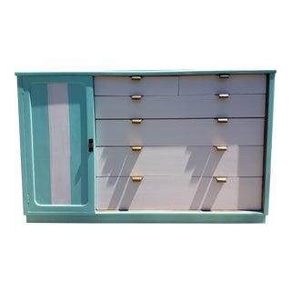 Mid-Century Turquoise Painted Dresser