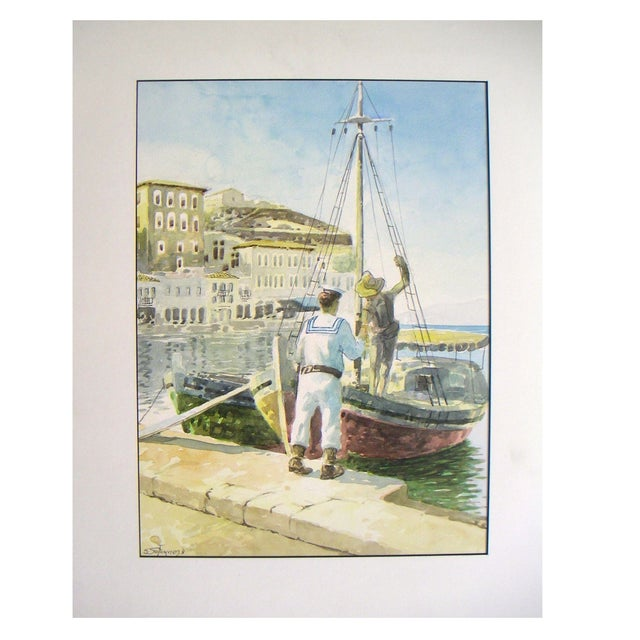 Signed Painting - Island Harbor Greece - Image 1 of 4