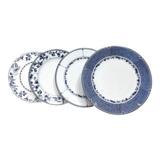Blue & White Mismatched Dinnerware - Set of 4