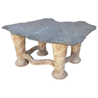 Free Form Slab Slate Top & Wood Base Table