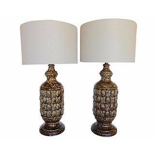 1960's Relief Pattern Ceramic Lamps - Pair