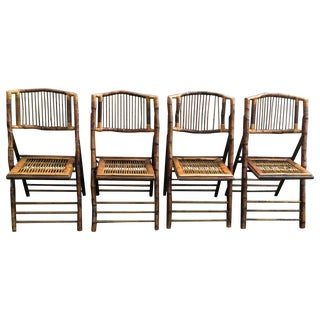 Bamboo Folding Chairs - Set of 4