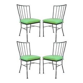 Vintage Mid Century Modern Hollywood Regency Metal Faux Bamboo Dining Chairs - Set of 4