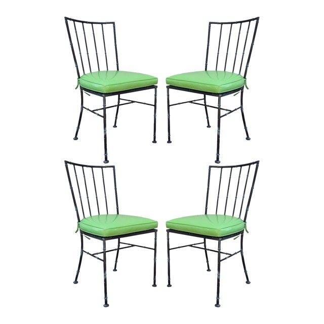 Vintage Mid Century Modern Hollywood Regency Metal Faux Bamboo Dining Chairs - Set of 4 - Image 1 of 11
