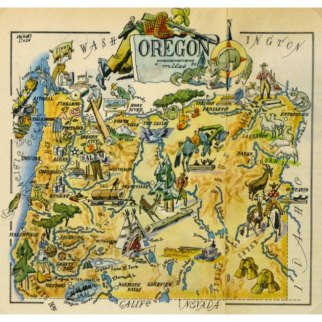 Antique Oregon Pictorial Map, 1946 - Image 1 of 3