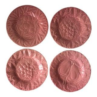 4 Bordallo Pinheiro Pink Majolica Plates