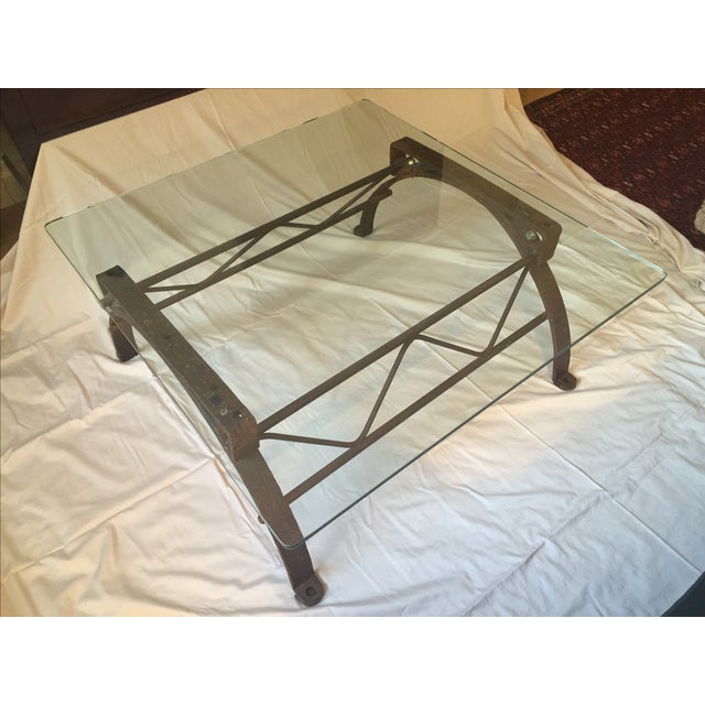 Repurposed Iron Barrel Holder Glass Top Table - Image 2 of 7