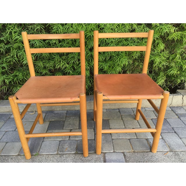 Perriand Style Birch & Leather Chairs - A Pair - Image 2 of 6