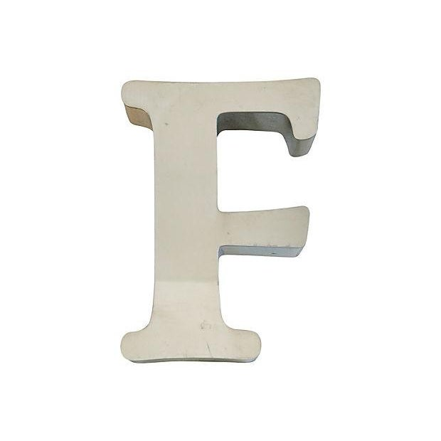 Image of 1970s Stainless Steel Marquee Letter F