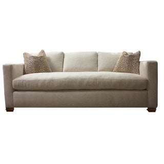 French Stitch White Tuxedo Sofa