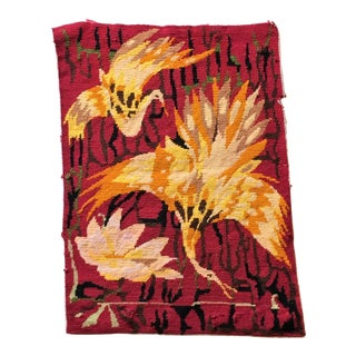 Woven Needlepoint Diving Bird Tapestry