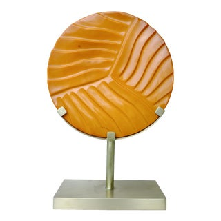 Carved Cascade Disc on Brass Stand