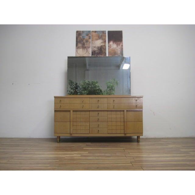 Mid-Century Light Wood Dresser with Mirror - Image 3 of 8