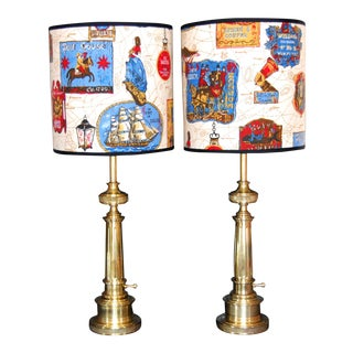 Vintage Brass Federal-Style Stiffel Lamps - A Pair