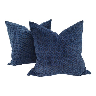 Black & Indigo Cotton Velvet Pillows - A Pair