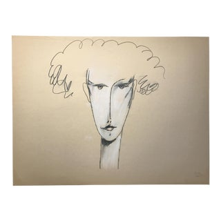 1983 Jack Hooper Portrait Curly Hair Drawing
